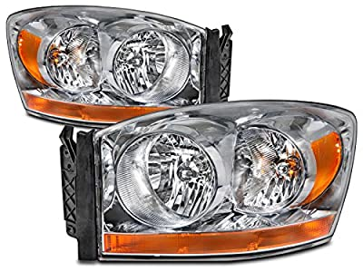 HEADLIGHTSDEPOT Headlight Chrome Housing Halogen Compatible with Dodge Ram 1500 2500 3500