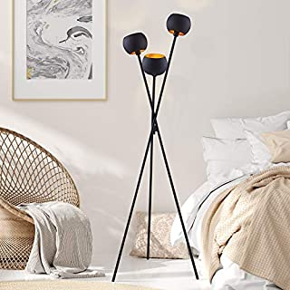 Archiology Black Modern Floor Lamp ,with 3 Matte Black Globe Head and Interwining Tripod Legs-Metal Tripod Floor Lamp for Mid-Century Living Room and Bedroom