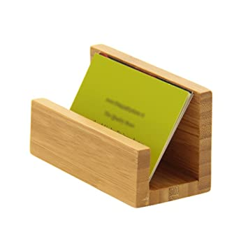 Desk business card holder natural bamboo wood amazon office desk business card holder natural bamboo wood reheart Gallery
