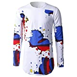 Ecurson Mens Casual Slim Fit Long Sleeve Casual Print T-Shirt (XXL, White)