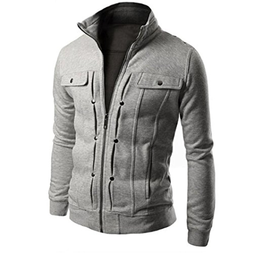 Giacca Grigio Jacket In Tasche Zip Color Da Solid Slim Uomo Outdoor Ujunaor Anti vento Ovw665