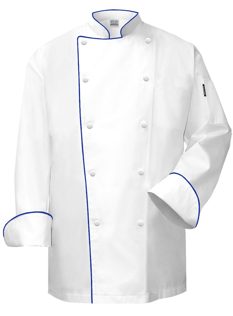 Newchef Fashion The Chef Coat White with Royal Blue Trim 3XL White by Newchef Fashion