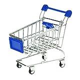 Sungpunet Supermarket Handcart Mini Shopping Cart Model Storage Basket Desk - Blue