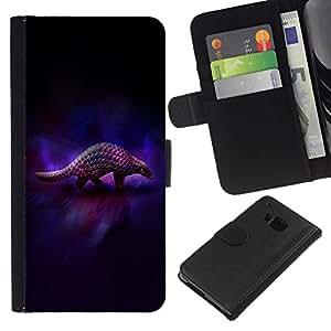 // PHONE CASE GIFT // Moda Estuche Funda de Cuero Billetera Tarjeta de crédito dinero bolsa Cubierta de proteccion Caso HTC One M7 / Animal Art Armadillo Dark /