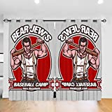 Customized Blackout Window Curtains SGT Donny Donowitz The Bear Jew Baseball Camp Inglourious Basterds Grommet Thermal Insulated Room Darkening Drape For Bedroom Living Room 52 X 72 Inch, 2 Panels