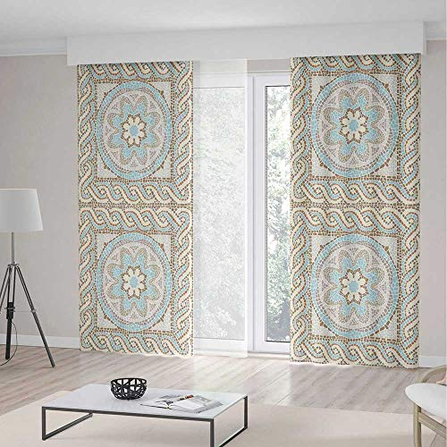 iPrint Antique Blackout Curtains,Mosaic Tile Design Floral Elements Twists Colorful Circular Pattern,Window Drapes 2 Panel Set Living Room Bedroom,142 W 95 L,Cream Brown (Brown Toile Window Panels)