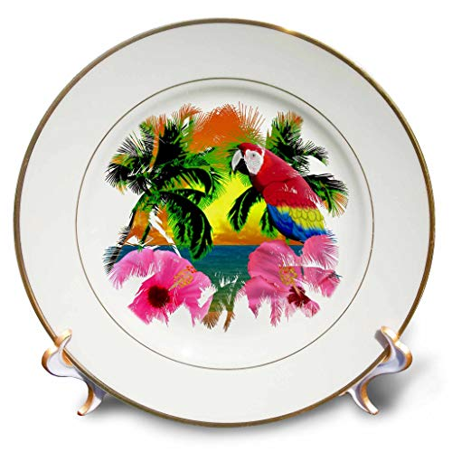 3dRose Macdonald Creative Studios - Beach - Beach Design of a Beach Sunset, Palm Trees, and Macaw Parrot. - 8 inch Porcelain Plate (cp_295405_1) ()