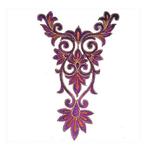 1 Pair Flower Purple Lace Vintage Design DIY Applique Embroidered Sew on Iron on ()