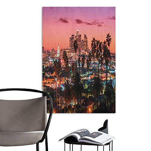 Jaydevn 3D Murals Stickers Wall Decals United States Vibrant Sunset Twilight Scenery Los Angeles Famous Downtown with Palm Trees Multicolor Landscape Scenery Painting W20 x -
