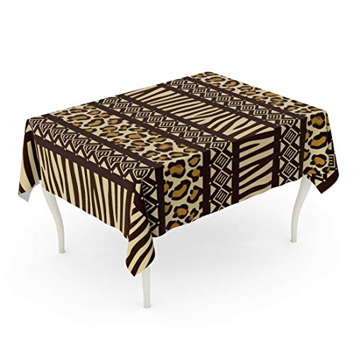 (Tarolo Rectangle Tablecloth 52 x 70 Inch Blue Pattern African Wild Animals Skins Red Safari Zebra Africa Leopard Tribal Table Cloth)