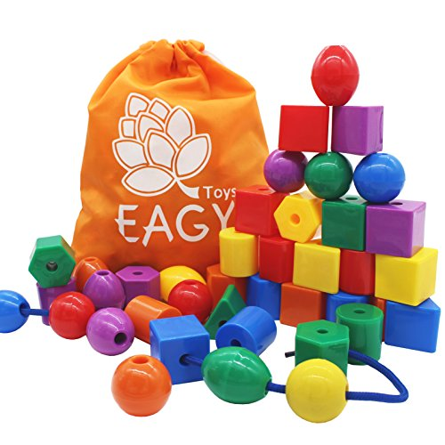EAGY Lacing Beads for Kids Toddler Toy, Jumbo Primary Lacing Toys for Toddlers - STEM Toy Educational Enlightenment Toys Autism Fine Motor Skills Montessori Toys - 36 String Beads, 4 Strings ()