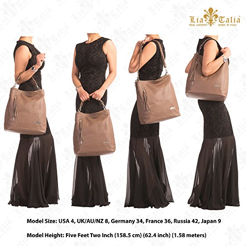 Twin Handle Womens LIATALIA Genuine Shoulder Navy Handbag Handles Leather Shopper Hobo Italian GWEN Top SIqw6v