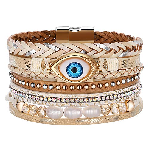 DESIMTION Evil Eye Leather Boho Wrap Stack Bracelets,Cuff Bohemian Wrap Multilayer Wide Wrist Magnetic Clasp Buckle Casual Bangle Bracelets for Teen Girls Women Boy Gift (Evil Buckle)
