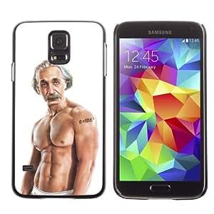 Licase Hard Protective Case Skin Cover for Samsung Galaxy S5 - Funny Einstein Bodybuilder