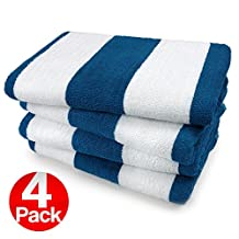 KAUFMAN- ROYAL BLUE CABANA STRIPE, LARGE BEACH AND POOL TOWEL SET OF 4. 100% COTTON . MAXIMUM ABSORBENCY AND SOFTNESS