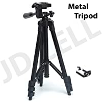 JDCELL 3120 Portable and Foldable Camera Metal Body Mobile Tripod with Clip Holder Bracket, Stand with 3-Dimensional Head and Quick Release Plate Only, 150 g