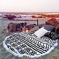 SeeS Round Shape Beach Towel Sunscreen Shawl Wrap Blanket Tassels Tapestry Wall Hanging Yoga Picnic Mat Tablecloth