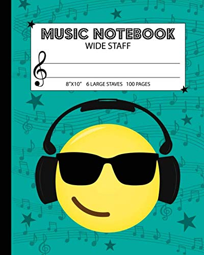 - Music Notebook: Wide Staff Manuscript Paper Notebook For Kids - 6 Large Staves Per Page (8