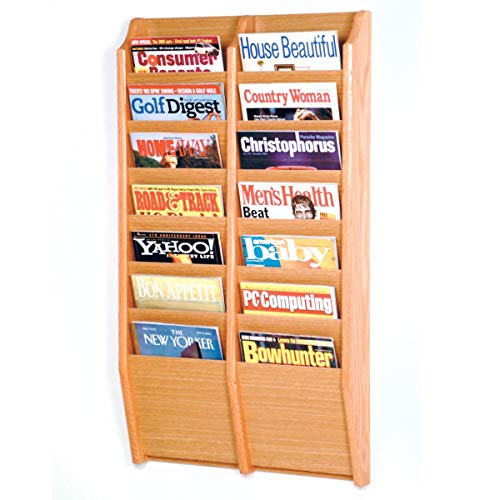 Wooden Mallet MR36-14BH Cascade 14 Pocket Magazine Rack - Black44; Mahogany & Light Oak