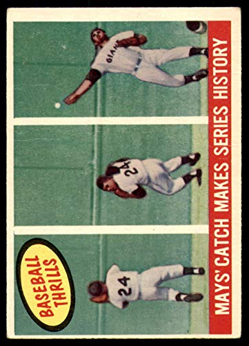 (1959 Topps #464 Willie Mays Mays' Catch Makes Series History G-VG NY Giants)