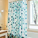 JynXos Fashion Blue Cube Pattern Ombre Bathroom Shower Curtain 72x84 inch - White and Blue Square
