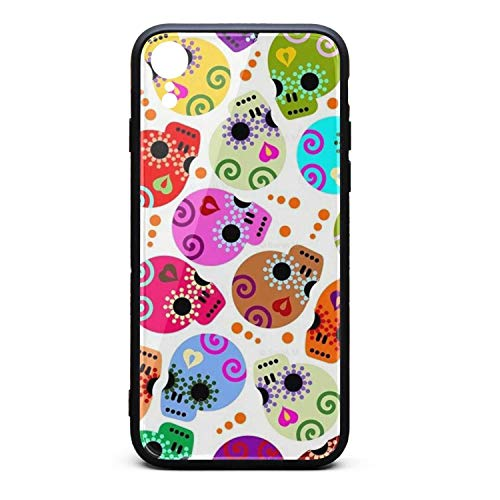 ZaiyuXio iPhone XR Case Coloring Pattern Skull Tempered Glass Back Cover Scratch-Resistant Anti-Slip Soft TPU Frame for iPhone XR 6.1 inch 2018 (Pattern Uconn)