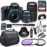 Canon EOS Rebel SL2 DSLR Camera 18-55mm & 75-300mm Lens (Black) Kit + Gadget Bag +3 Piece Filter Kit + Premium Accessory Bundle