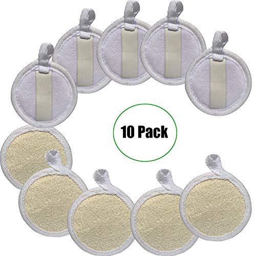 Loofah Sponge Exfoliating Facial Cleaning Pads,10 Packs 100% Natural Loofa Face Scrubber Large Cleanser for Men Women Bath Spa Cleansing,3.15 Inches Dia