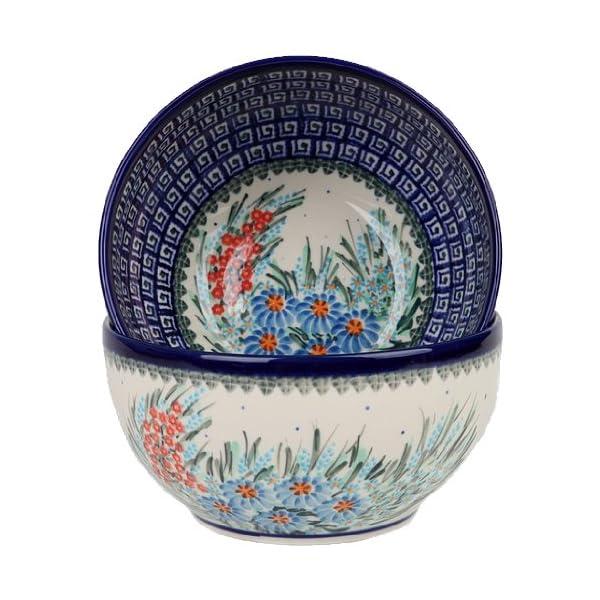 Polish Pottery Ceramika Boleslawiec 0410/169 Royal Blue Patterns with Blue Daisy and Orange Phlox Motif Bowl 19, 5-1/4-Cup