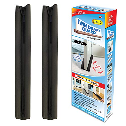 Twin Draft Guard Black Double-Sided Insulating Under Door Draft Stopper | Energy Saving | Set of 2 | Fits Doors Up to 36 Inches