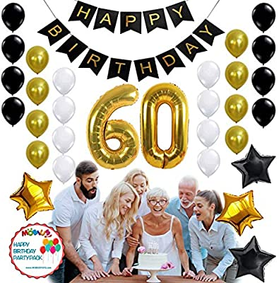 60th BIRTHDAY PARTY DECORATIONS KIT 31pcs White Black Gold Helium Balloons With Banner 60 Th Birthday Decorations Party Supplies For Men Women