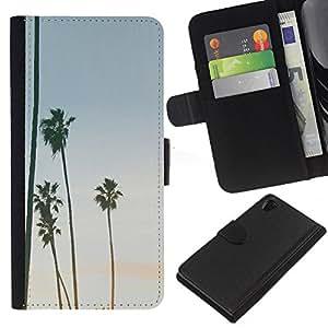 KLONGSHOP // Tirón de la caja Cartera de cuero con ranuras para tarjetas - Árboles Sky Summer Beach Tropics - Sony Xperia Z2 D6502 //