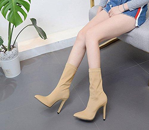 Material Stiefel Heels Elegant Spitz Aisun High Elastisch Halbschaft Aprikosenfarben Damen Zehen Stiletto 68gw61qA