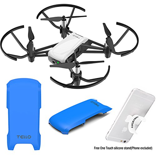 Snap-on Top Cover Case For DJI Tello Drone with Luckybird Touch Silicone Stand (Blue)