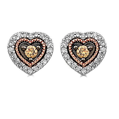 - Jewelili 10K Rose Gold Sterling Silver Round Champagne and White Diamond Heart Stud Earrings, 1/5cttw