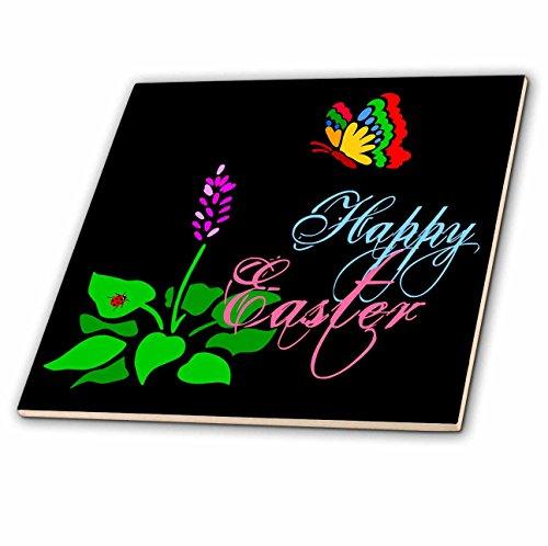 3dRose Alexis Design - Holidays Easter - Butterfly, Spring Flower, red Ladybug, Text Happy Easter on Black - 4 Inch Ceramic Tile (ct_275999_1) - Ladybug Ceramic Tile
