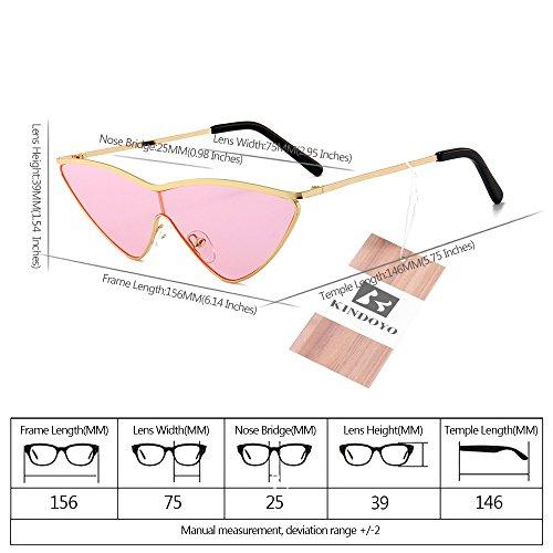non Rose Or Cadre lunettes soleil lunettes Femmes soleil mode soleil oeil à lunettes de polarisées de KINDOYO triangle de dégradés verres protection lunettes de de soleil chat UV400 Lentille de SfFcqWP1