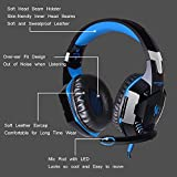 ENVEL G2000 PC Gaming Over-ear Professional Headphone Headset Bass Earphones 3.5mm LED Light Cool Style Stereo with Mic Noise Cancelling and Volume Control with 3.5mm Audio Y Cable (Blue)