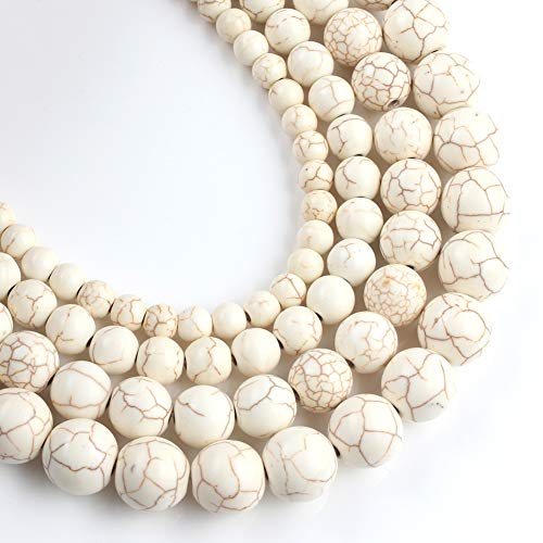 Yochus 10mm White Turquoises Round Loose Beads Frost Dull Polish Agat Beads for Jewelry Making