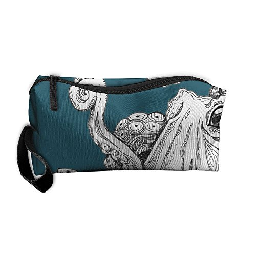 ZPbag Teal Octopus Portable Zipper Storage Bag Make-Up Pouch Beauty Cosmetic Bag Carry Case Brush Organizer Toiletry Hanging Storage Bag Sewing Kit Medicine - Time Usps Shipping To Canada