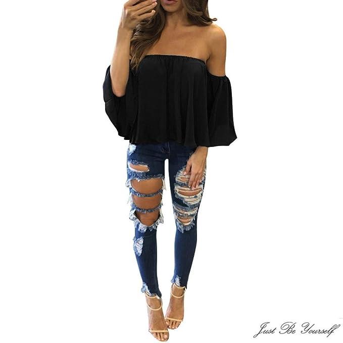 8fddf4e187e Sothread Women's Sexy Chiffon Off Shoulder Long Sleeve Tops Loose T-Shirt  Blouse Pullover Small
