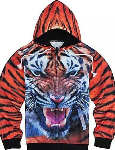 ZhongLiXunYi Herren Kapuzenshirt Lässig/Alltäglich Leopard V-Ausschnitt Unelastisch Polyester Lange Ärmel Winter