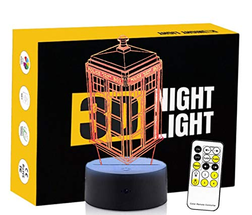 Circle Circle Police Box Shape Colorful Gradients 3D Optical Illusion Lamp 7 Colors Change Touch Button and 15 Keys Remote Control Children Kids Bedside Table LED Night Light by Circle Circle