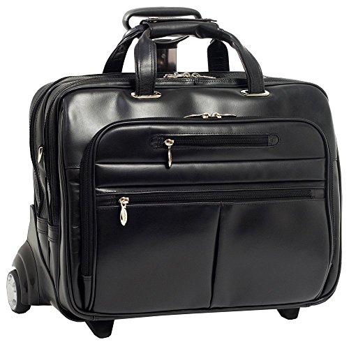 McKleinUSA OHARE 86535 Black Leather Fly-Through Checkpoint-Friendly 17  Detachable Wheeled Laptop Case by McKleinUSA