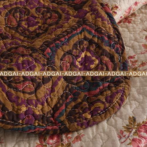 ADGAI Couvre-lit 3 PCS réversible à imprimé Floral léger Quilt Set Style Vintage Brown Patchwork Couvre-lit avec Jeté de lit Couvertures 2 Taies