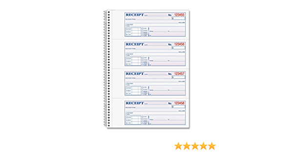 200 Sets per Book 5-1//4 x 11 2-Part Carbonless - 3 Pack Adams Money and Rent Receipt Book 4 Receipts per Page Spiral Bound SC1152
