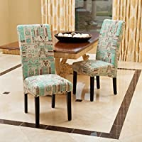 India Geometric Teal Fabric Dining Chairs (Set of 2)