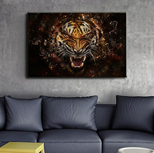 Global Artwork Printed Posters and Prints Animals Tiger Picture Wall Art on Canvas for Living Room Home Decor Stretched Framed Ready to (Tigers Framed Picture)