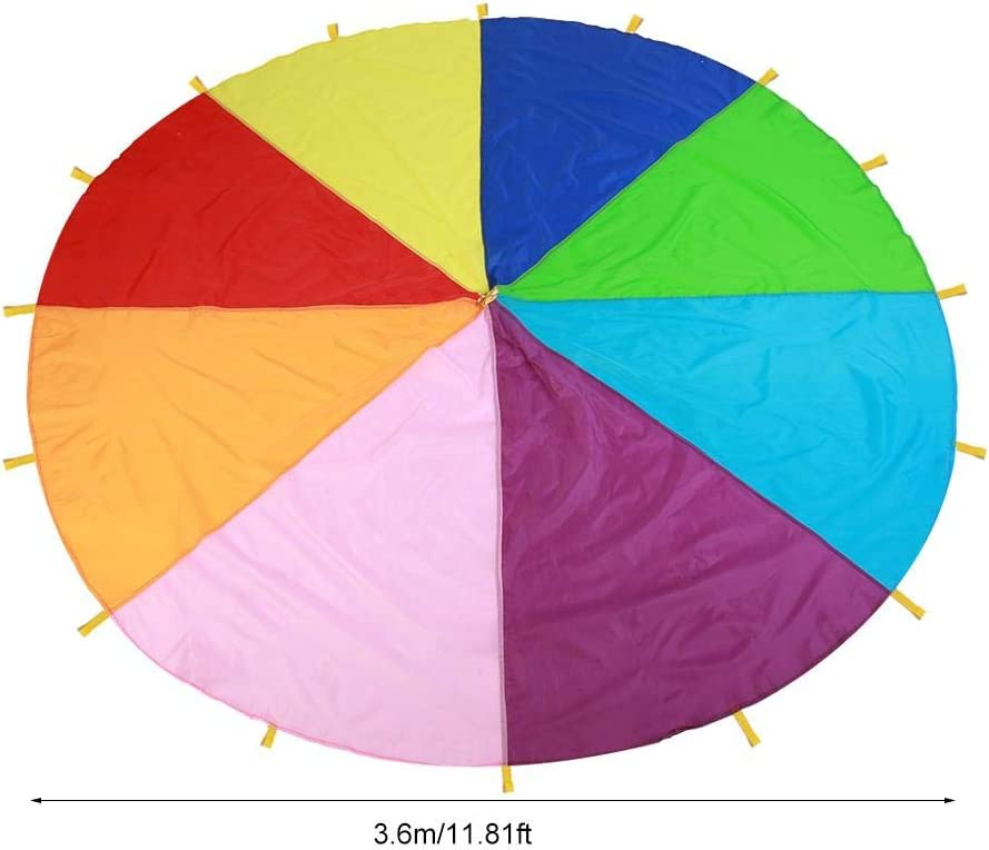 Kids Parachute Giant Multicolored Kid/'s Play Parachute Canopy with 16 Handles Indoor /& Outdoor Games and Exercise Toy Promote Teamwork Fitness Social Bonding