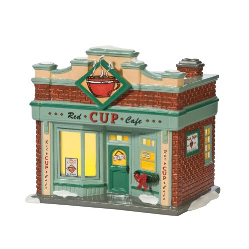 Department 56 Snow Village Red Cup Café Lit House